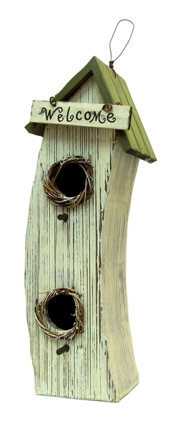 Wood Double Hole Birdhouse