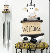 Cow Wind Chime With Welcome Sign