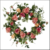 20 Inch Rose Wreath - Free Shipping