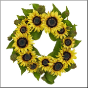 22 Inch Sunflower Wreath - Free Shipping