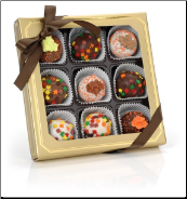 Autumn Leaves Belgian Truffle Cake Bons- Gold Gift Box