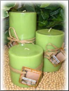 3 Round Pillar Soy Candle Set